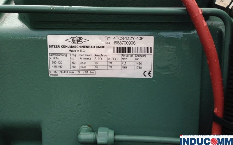 IS14 802 Bitzer Condensing Unit Nameplate